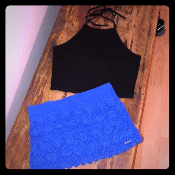 Abercrombie & Fitch Dresses & Skirts - Abercrombie & Fitch Black Crop-top & Blue Skirt